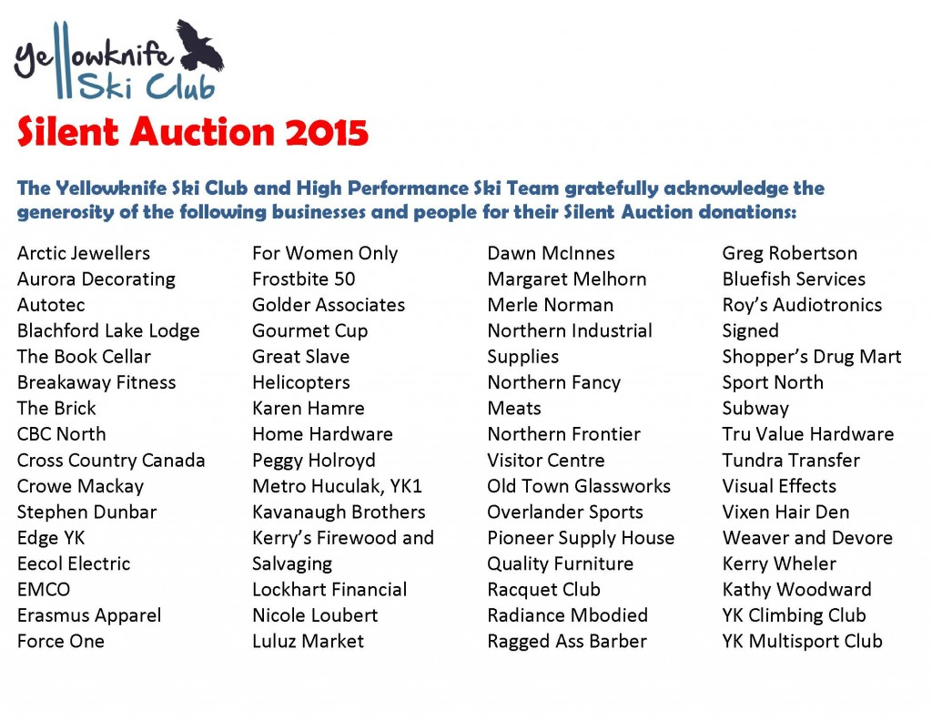 Silent Auction 2015 Corporate sponsor list