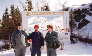 Western Canadian Championships, 1993: David Gilday at left, John Stephenson and John Argue in front of the old trail map. The location of the old clubhouse is marked in the lower right hand corner. Today, the Kids Corner Childcare Centre on Haener Drive sits on the spot.